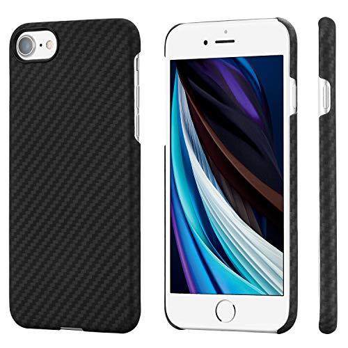 pitaka Custodia iPhone 7/8 Cover per iPhone 7/8 Apple Ultra Slim Sottile Resistente in Fibra Aramidica Serie MagEz Case Elegante Cover Magnetica per Supporto Auto Nera/Grigia Diagonale