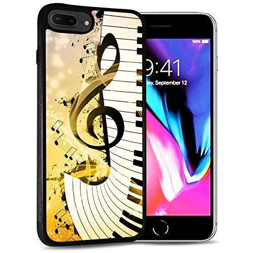 HOT12221 Schutzhülle für iPhone 8 Plus, iPhone 7 Plus, strapazierfähig, weiche Rückseite, Handyhülle, Motiv: Notenzeichen, Tastatur 12221