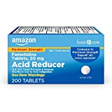 ACTIVE INGREDIENT: This product contains 20 mg of famotidine, an acid reducer for heartburn relief, which compares to the active ingredient in Maximum Strength Pepcid AC. RELIEVES HEARTBURN: Amazon Basic Care Maximum Strength Famotidine Tablets 20 mg...
