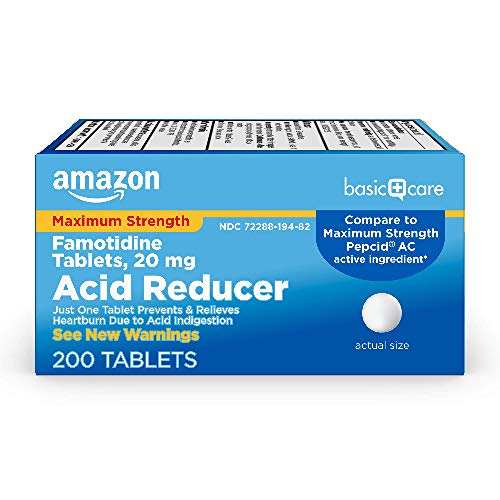 Amazon Basic Care Maximum Strength Famotidine Tablets 20 mg, Acid Reducer for Heartburn Relief, 200 Count