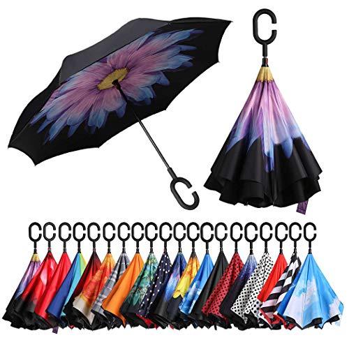 Eono by Amazon - Inverted Stockschirme, Winddicht Regenschirm, Reverse Stockschirme mit C Griff, Selbst Stehend, Double Layer, Schützen vor Sturm Wind, Regen und UV-Strahlung, Lila Gänseblümchen