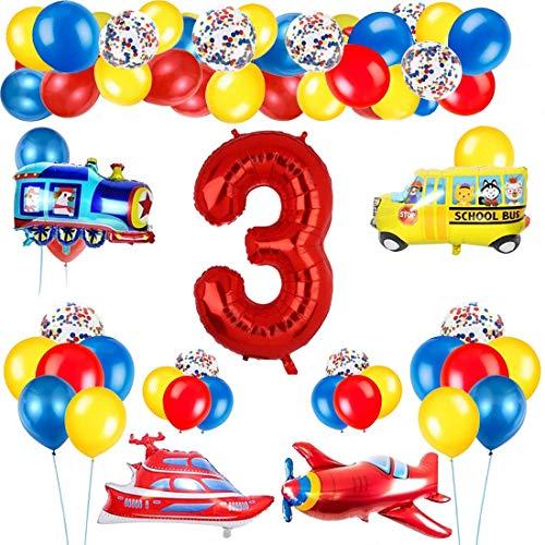 3 Años Decoración de Cumpleaños Número Rojo 3 (40 Pulgadas) Tema de Tráfico Decoración de Fiesta de Cumpleaños Globos de Confeti Látex para Niños Avión Tren Autobús Yate
