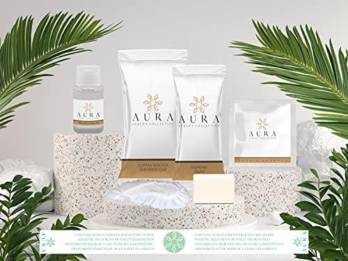 Aura Luxury Collection ® Kit cortesia bagno da 200 pezzi composto da 50 bustine shampoo doccia, 50 flaconi igiene intima, 50 saponette 12 grammi, 50 cuffie + OMAGGIO 500 fasce garanzia igiene WC