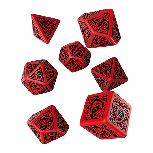 Celtic 3D Dice Red/Black (7) Dice Set
