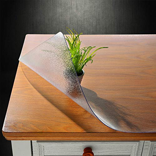 NECAUX Custom Multi-size 1.5mm Thick Frosted PVC Table Cover Protector - 24 x 48 Inch Water Resistant Plastic Rectangular Vinyl Non-Slip Desk Pad for 4 Foot Coffee Table/Writing Desk