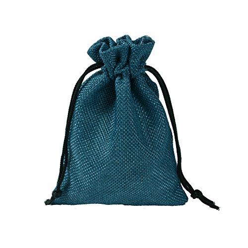 CLTPY 20 Pezzi Sacchetto di Iuta Drawstring Jute Bag Sacchetti Regalo per Natalizie DIY Craft Matrimonio Favore 13x18cm/5,1x7,1in (Blu Pavone)