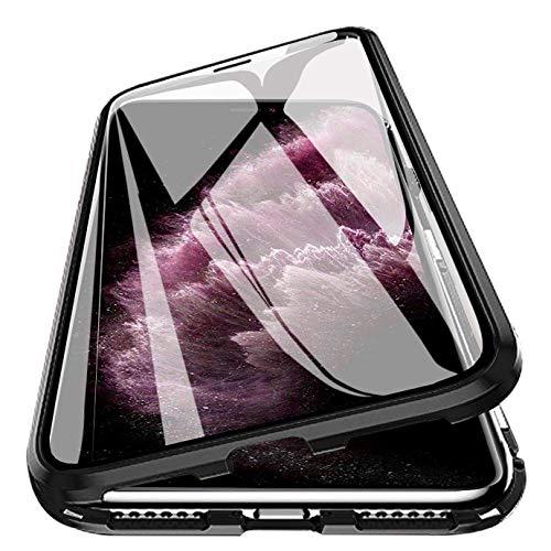 PHOVOLT Funda magnética para iPhone 11 Pro MAX de 6.5 Pulgadas, Vidrio Templado de 360 °, a Prueba de Golpes, con absorción magnética, de Metal, con Tapa, Negro, iPhone 11 Pro MAX Case