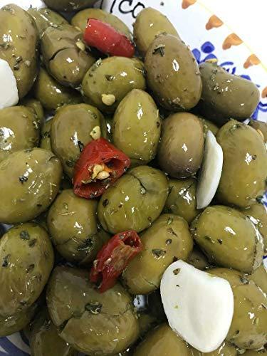 Olive verdi schiacciate 500 gr. siciliane 'Nocellara dell'Etna' in Olio E.V.O.