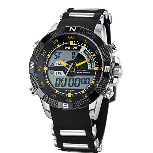 Weide Mens Chrono Black Dial Stainless Steel Swiss Quartz Watch
