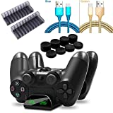 TFSeven Replacement for PS4 Charger Controller USB Charging Station Dock Compatible with Dual Shock PS4/PS4 Slim/PS4 Pro Controller Charging Cord Earbud Rubber Thumb Cover Accessories Bundle