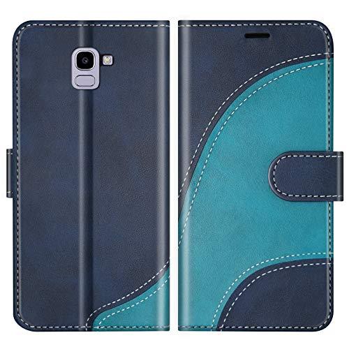 BoxTii Cover per Galaxy J6 2018, Custodia in PU Pelle Portafoglio per Samsung Galaxy J6 2018, Magnetica Cover a Libro con Slot per Schede, Blu