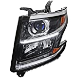 Spec-D Tuning LED DRL Black Left Driver Side Projector Headlight for 2015-2019 Chevrolet Tahoe Suburban Head Light Assembly