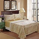Paisley Bedding 800 Thread Count 100% Cotton Deep Pocket 4Pcs Bed Sheet Set,Queen Size,Khaki