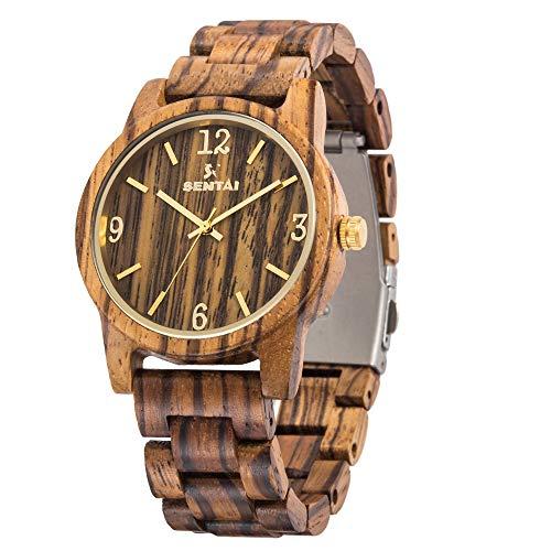 Sentai Herren Uhren Holzuhr Holz-Armbanduhr Klassik Analoge Japanisch Quarzwerk Uhren Unisex mit Geschenkbox ideal für Freund, Vater, Ehemann Geschenke