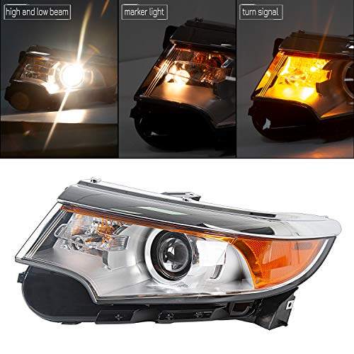ECOTRIC New Front Headlamp Left Driver Side Headlight Assembly Compatible with 2011-2013 Ford Edge Replacement for BT4Z-13008-B