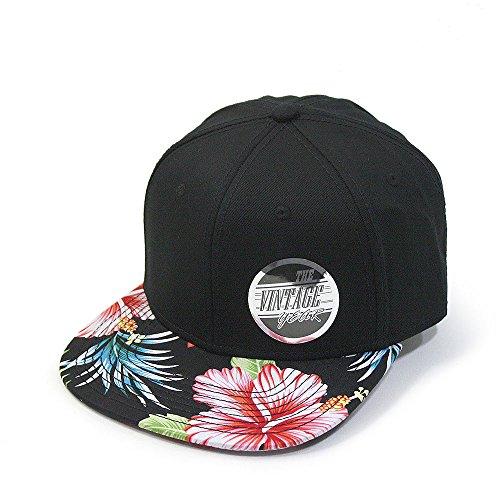 Premium Floral Hawaiian Cotton Twill Adjustable Snapback Hats Baseball Caps (Hawaiian/Black/Black Flat)