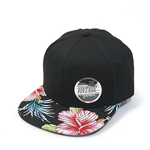 Premium Floral Hawaiian Cotton Twill Adjustable Snapback Hats Baseball Caps (Hawaiian/Black/Black Flat)
