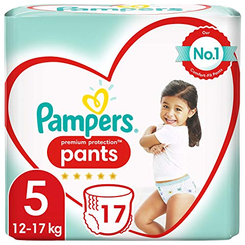 Pampers Größe 5 Premium Protection Baby Windeln Pants, 17 Stück, Tragepack, Weichster Komfort Und Schutz (12-17kg)