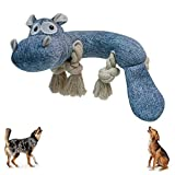 Squeaky Dog Toys Dog Chew Toy for Aggressive Chewers Dog Stuffed Animals Rope Chew Toy Dog Teethbrush Dental Chew Toy for Small Medium Large Doggy or Puppy Hippo