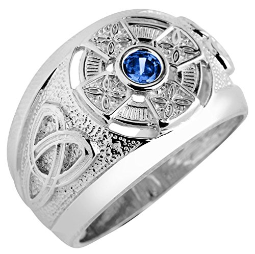 Solid 925 Sterling Silver Trinity Knot Band Blue CZ September Birthstone Celtic Cross Ring (Size 13)