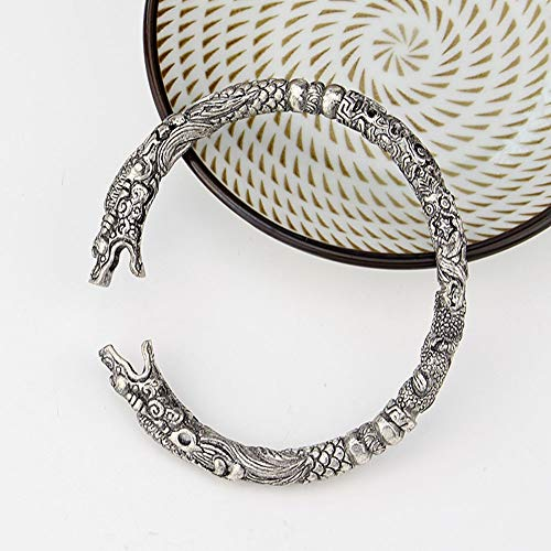 JYPCBHB Brazalete De Cabeza De Serpiente Vikinga brazaletes para Hombres Ajustable, Acero Inoxidable,Pulido, Brazo Trenzado