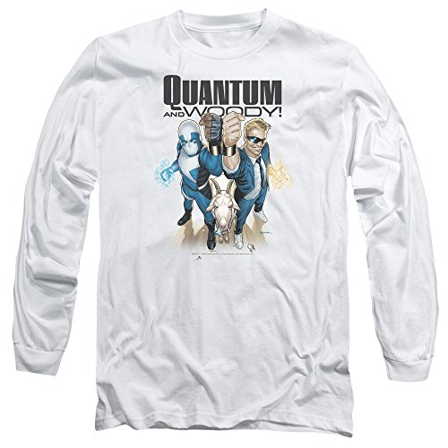 Quantum And Woody - Manches longues T-shirt pour hommes, Large, White