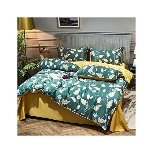 KAVNAR Juego de Cama Francesa Tencel de Cuatro Piezas Hoja de edredón Duvet Cover Set Tencel Ropa de Cama de satén (Color : Green Yellow, Size : Quilt Cover 2x2.3M)