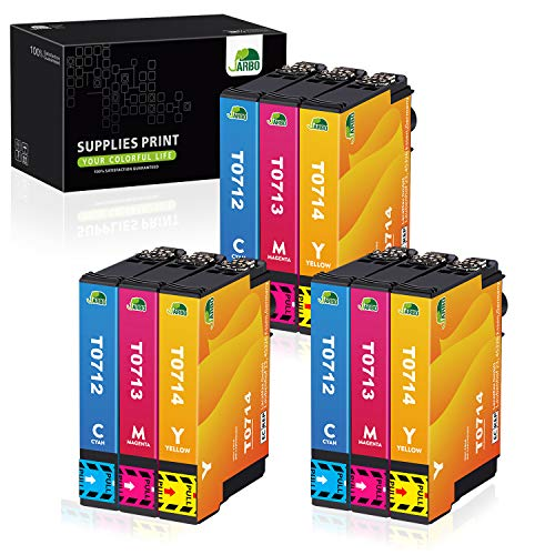 JARBO T071 Sostituzione per Cartucce Epson T0712 T0713 T0714 Compatibile con Epson Stylus SX218 SX400 SX200 D92 DX4400 DX4450 DX7400 DX8400 SX115 SX205 SX210 SX405 SX510W (3 Ciano,3 Magenta,3 Giallo)