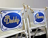 All About Details Royal Blue & Gold Prince Theme Daddy-Mommy Chair Signs, 8in Wide & 10.5in Long