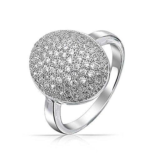 Bling Jewelry Zirkonia Oval Pave Dome AAA CZ Abschlussball Schönheitswettbewerb Aussage Ringe Aus Silber Messing Verchromt Für Damen