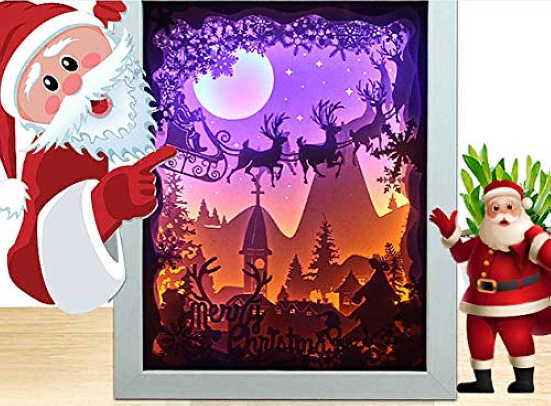 Knncch Weihnachtspapier Schnitzen Lampe3D Papier Carving Weihnachten Led -Nachtlicht GeschenkLicht
