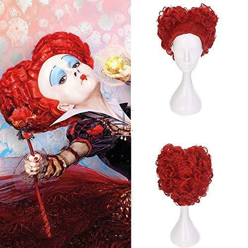 Nyfcc Halloween Alicia en el pas de las maravillas reina roja Cosplay peluca juego de roles reina de corazones disfraz de pelo rojo + peluca Cap