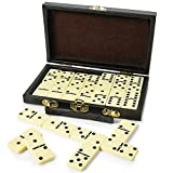 Kicko Domino Set - Premium Classic 28 Pieces Double Six In Durable Wooden Brown Box For Boys, Girls, Party Favors and Anytime Use - Up To 2-4 Players