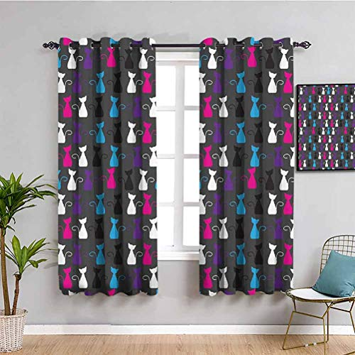 Kids Abstract Animals Art Decor Insulating Room Darkening Blackout Colorful Ornamental Kittens Drawings and Cat Pattern Privacy Protection W84 x L84 Inch Magenta Blue and Black