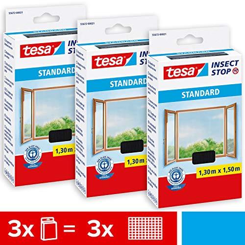 tesa® Insect Stop STANDARD Fliegengitter für Fenster im 3er Pack - Insektenschutz zuschneidbar - Mückenschutz ohne Bohren - 3 x Fliegen Netz anthrazit - 130 cm x 150 cm