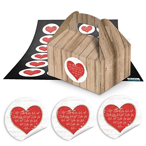 48piccolo marrone scatole regalo Confezione in simil legno (9x 12x 6cm senza manico) + rotonda di cuore rosso con amore per il tuo (1812) Ø 4cm Confezione Regalo per preparate dolci fai da te