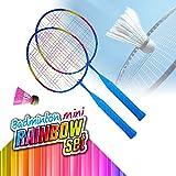 Palmi Set Badminton Bambini 2 Racchette con volano 2 Pezzi,Racchette Badminton Bambini con Un volano Incluso Colore Arcobaleno