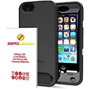 """ZeroLemon 4600mAh Removable Rugged Juicer Triple Layer Extended Battery Case for iPhone 5s, 5 with Belt Clip + Dual Kickstand + PET Screen Protector -Black/BlackWORLD""""S HIGHEST CAPACITY IPHONE 5/5S BATTERY [180 days ZeroLemon Warranty Guarantee]"""