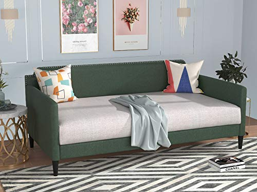 Upholstered Twin Daybed Linen Like Sofa Bed with Nailhead Trim & Espresso Finish Tapered Legs, Heavy Duty Platform Bed Frame with Rivet Decoration for Living Room Bedroom, No Box Spring Needed (Green)