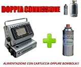 STUFA STUFETTA A GAS PORTATILE DOPPIO ATTACCO GPL/BUTANO + OMAGGIO 1 CARTUCCIA