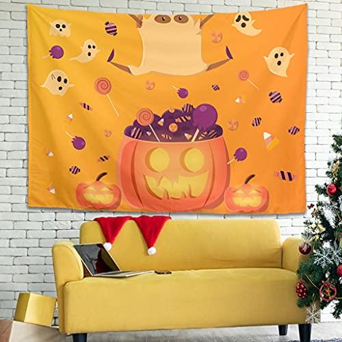 Ballbollbll Tapiz de fantasma de calabaza de Halloween para colgar en la pared de la decoración del dormitorio, fundas de sofá, tapices decoración blanca 101,6 x 149,8 cm