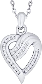 KATARINA チャネルセット ダイヤモンドハートペンダントネックレス ゴールドまたはシルバー (1/4 cttw G-H I2-I3)