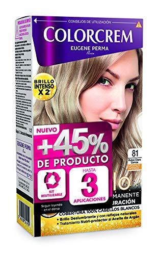 Colorcrem - Tinte permanente mujer - tono 81 Rubio Claro Ceniza, con tratamiento nutri-protector al aceite de Argán. + 45% de producto | Disponible en más de 20 tonos.