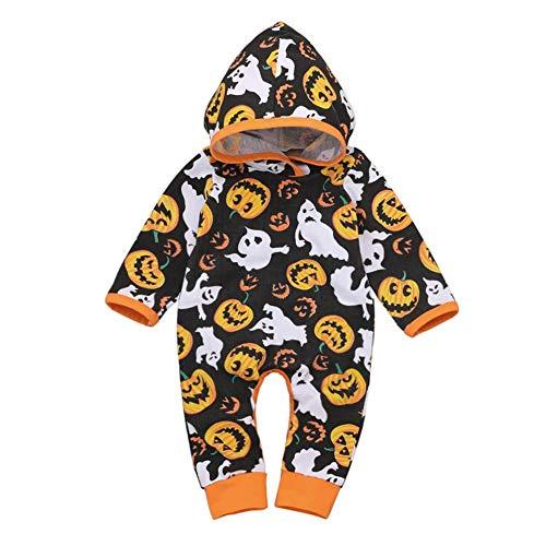 La Cabina Demiawaking Costume pour Bébé Enfants Mignons en Coton à Capuche Halloween, Combinaison Halloween Citrouille Imprimer Body Bébé Enfants Filles Garçons Manches Longues Barboteuses Costume