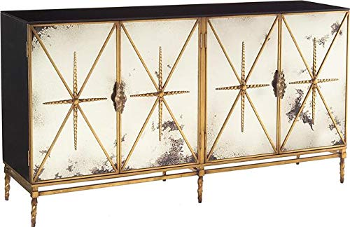 Read About John Richard Dresser Chest of Drawers Rio Carved Doors Black Old Gold Lac