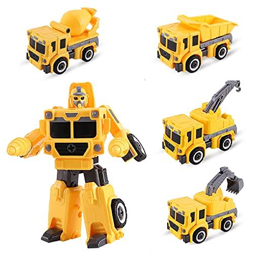 Yojoloin Transformer Robot Car Toy Truck, construcción ensamblar juguete, niños pequeños, volcado, grúa, excavadora, excavadora, excavadora, juego de coches para niños de 3 a 6 años