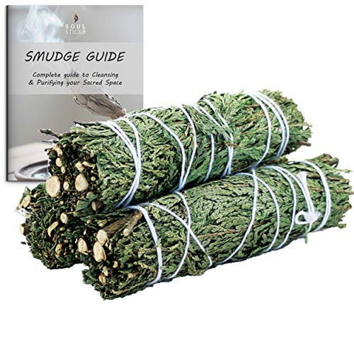 Cedar Smudge Sticks 3 Pack for Cleansing House, Meditation, Yoga, Negative Energy Cleanse, and Smudging with Starter Guide | 4 Inch Organic Cedar Sage Bundles