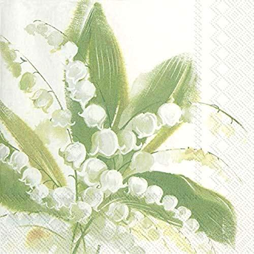 40 St. Lunch Servietten Maiglöckchen Weiß Grün Frühling Blume Ostern Tischdeko Serviettendeko Kommunion Konfirmation