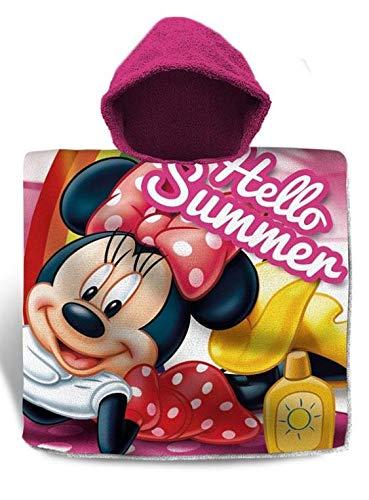 Minnie Mouse Poncho Playa Algodon 120x60cm de Minnie Toalla Tiempo Libre y Sportwear Infantil, Juventud Unisex, Multicolor (Multicolor), Talla Única