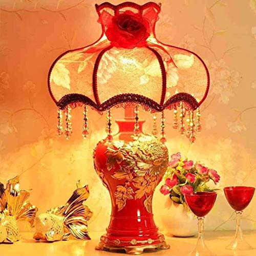 KANJJ-YU Personalidad Simple Continental lámpara Decorativa, S Dormitorio lámpara de cabecera, Regalo de Boda Rojo Matrimonio lámparas de Mesa, luz de la Noche de Lectura Lámpara de Mesa
